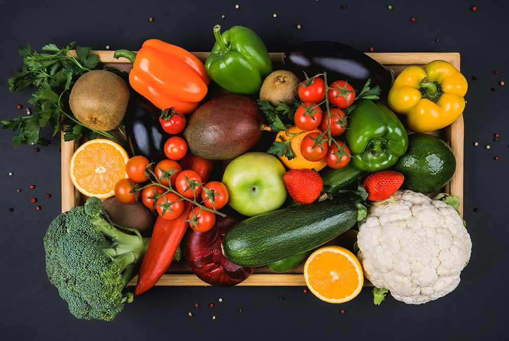kasse med grønsager